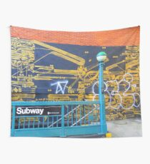 Graffiti in NYC - Wall painted 7 - Subway station Wall Tapestry