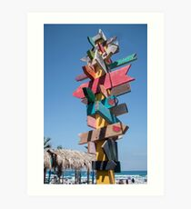 Colorful sign points Art Print