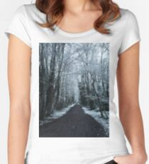 Woodland Snow Scene Women's Fitted Scoop T-Shirt