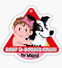 Baby & Border Collie On Board - Girl Brown Hair + Black Sticker