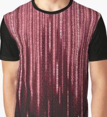 Red Binary Rain Graphic T-Shirt