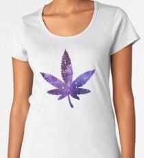 Marijuana leaf sticker - purple space Women's Premium T-Shirt