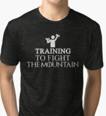 Training To Fight The Mountain Funny Gym Workout Design Tri-blend T-Shirt