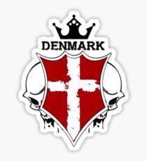 Denmark Flag - Coat of Arms - Skull Design - Scandinavia - Denmark Sticker
