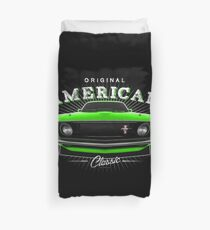 Ford Mustang Classic Muscle Car Green Duvet Cover