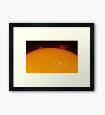 Sun spot and flares in Hydrogen Alpha Framed Print