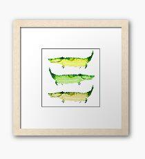 Funny happy green crocodiles Framed Print