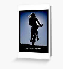 LIFE IS BEAUTIFUL: Bicycle Riding Print Greeting Card
