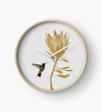 Hummingbird & Flower II Clock