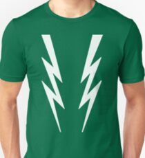 White lightening bolts on green - Boosh inspired Unisex T-Shirt