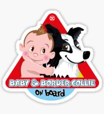 Baby & Border Collie On Board - Boy Brown Hair + Black Sticker