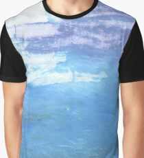Blue-gray abstract watercolor background Graphic T-Shirt