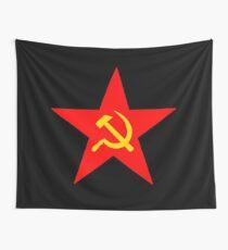Hammer & Sichel, Roter Stern, Kommunistischer Stern, Kommunismus, auf SCHWARZ Wandbehang