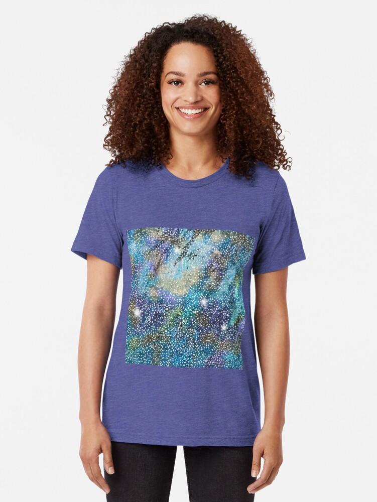 Alternate view of RB201, Bling Look Textiles, Fabrics, Bluish w/Stars Tri-blend T-Shirt