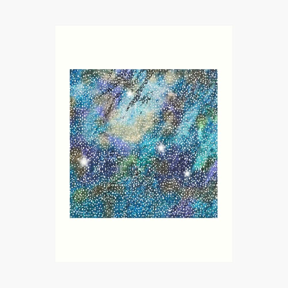 RB201, Bling Look Textiles, Fabrics, Bluish w/Stars Art Print