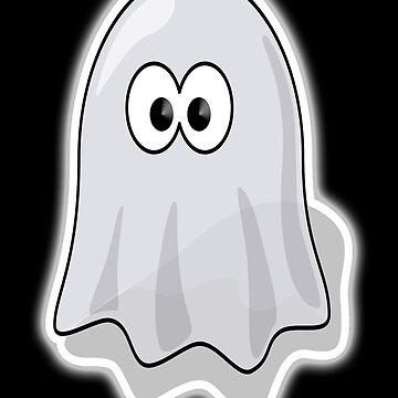 Ghost, Cute, Cartoon, Spook, Spooky, Halloween, fun, funny by TOMSREDBUBBLE