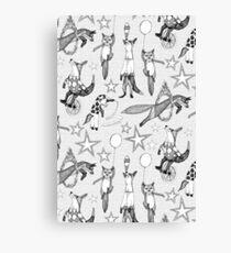 foxy circus black white Canvas Print