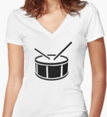 Drum drumsticks Women's Fitted V-Neck T-Shirt