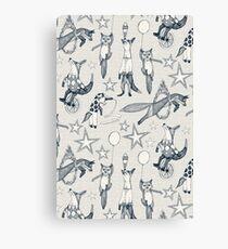 foxy circus indigo ivory Canvas Print