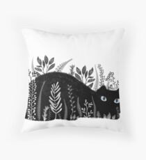 Garden Cat in Black and White Throw Pillow