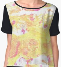 Very pale yellow abstract watercolor background Women's Chiffon Top