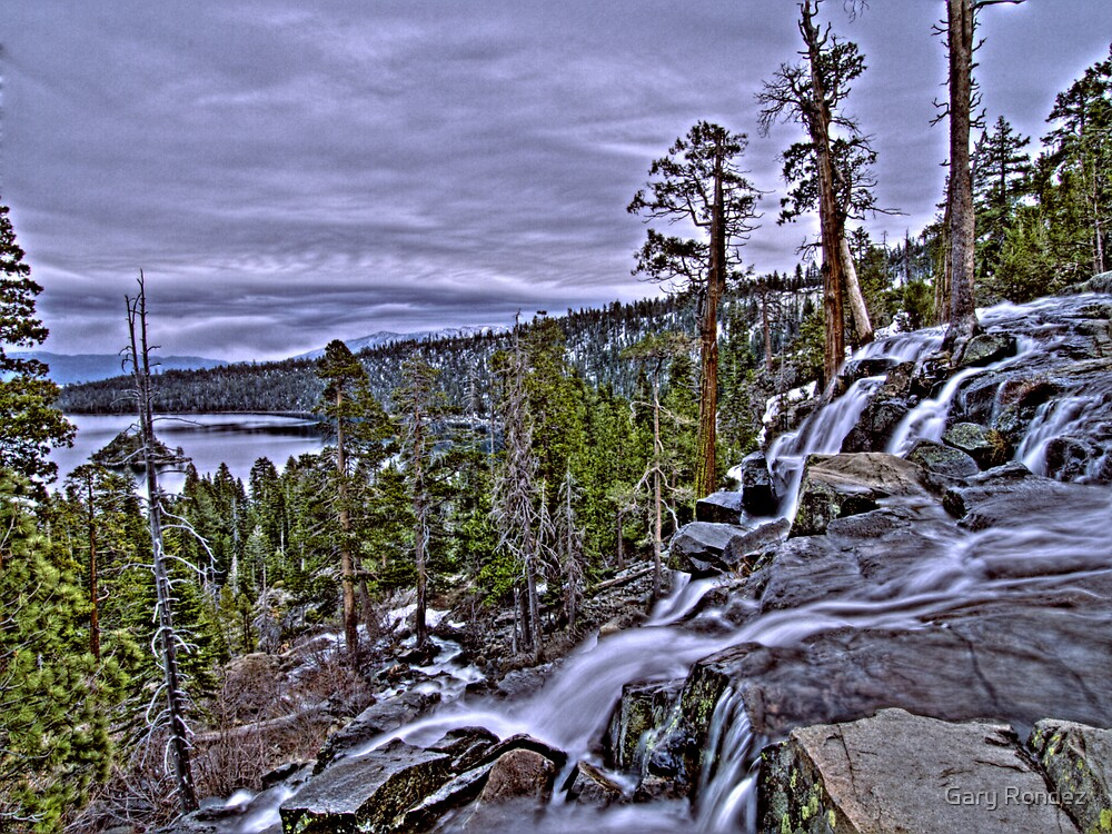 Lower Eagle Falls above Emerald Bay by Gary Rondez