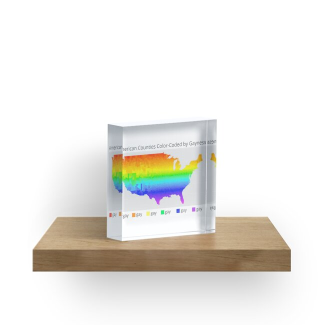Color Coded Map Of Usa.Map Of American Counties Color Coded By Gayness Acrylic Blocks By