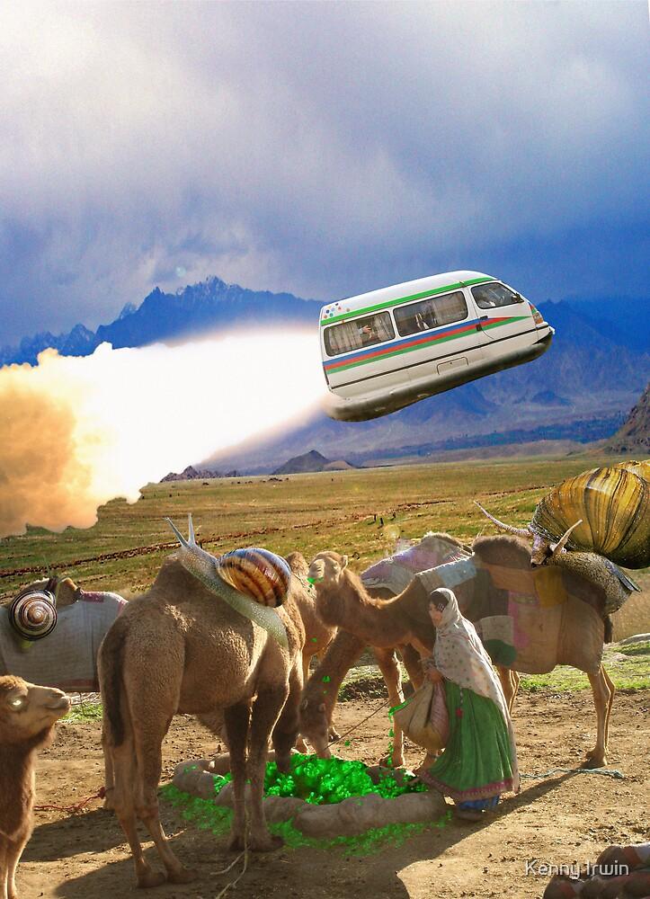 Balochistan Hover Van blasts off past the Vilo Snail Robocamel Caravan by Kenny Irwin