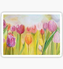 sunny tulips field Sticker