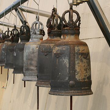 Row of monk Ritual bells by stash