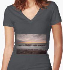 Long exposure dusk Women's Fitted V-Neck T-Shirt