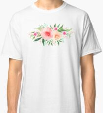 Bouquet OF flowers PINK AND ORANGE - PAINTED - watercolor  Classic T-Shirt