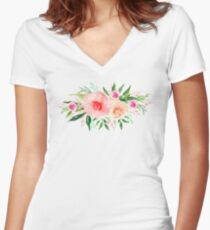 Bouquet OF flowers PINK AND ORANGE - PAINTED - watercolor  Women's Fitted V-Neck T-Shirt