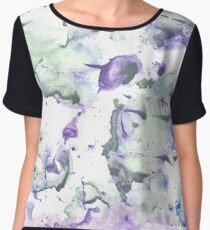 Azureish white abstract watercolor background Women's Chiffon Top