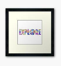 Explore Globe Watercolor Sticker Framed Print