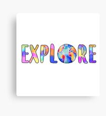 Explore Globe Watercolor Sticker Canvas Print