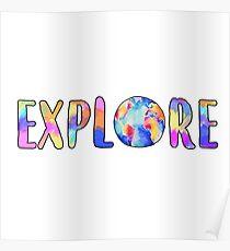 Explore Globe Watercolor Sticker Poster