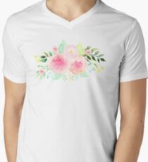 Bouquet OF flowers PINK WITH green - PAINTED - watercolor  T-Shirt