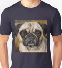 Adorable Pug Painting on Yellow - Mustard Background T-Shirt