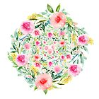 Bouquet OF flowers PINK & YELLOW - PAINTED - watercolor by casualforyou