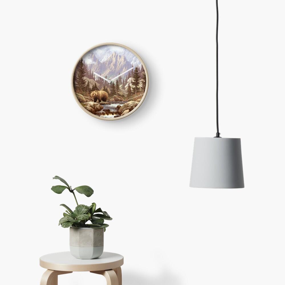 Grizzly Bear Landscape Clock