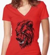 Black Werebear Women's Fitted V-Neck T-Shirt