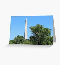 Washington Monument Weeping Willow Trees Greeting Card