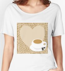 A heart with copy space and a cup with coffee beans Women's Relaxed Fit T-Shirt
