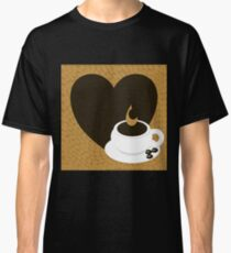 A heart with copy space and a cup with coffee beans Classic T-Shirt