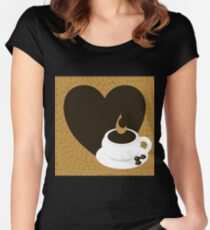 A heart with copy space and a cup with coffee beans Women's Fitted Scoop T-Shirt