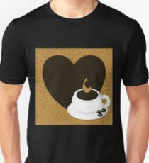 A heart with copy space and a cup with coffee beans Unisex T-Shirt