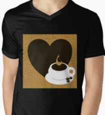 A heart with copy space and a cup with coffee beans Men's V-Neck T-Shirt