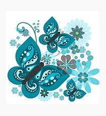 Blue Butterflies and Flowers Graphic Photographic Print