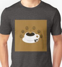 A coffee cup with coffee beans and text Coffee Unisex T-Shirt